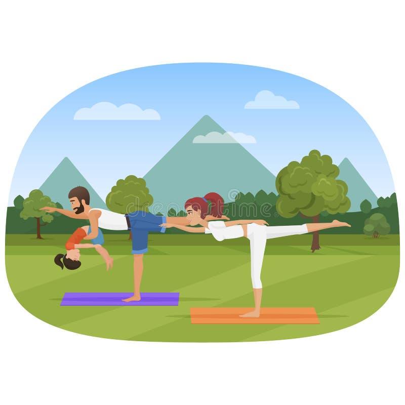 De ouders met dochterjong geitje doet yoga diverse oefeningen De vectorillustratie van de familieyoga vector illustratie