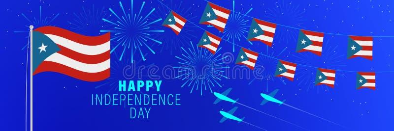 19 de outubro cartão de Puerto Rico Independence Day Fundo da celebração com fogos de artifício, bandeiras, mastro de bandeira e  ilustração stock