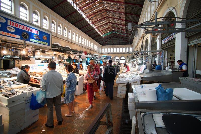 5 DE OUTUBRO DE 2018, mercado central de ATENAS, GRÉCIA, área dos peixes imagem de stock royalty free