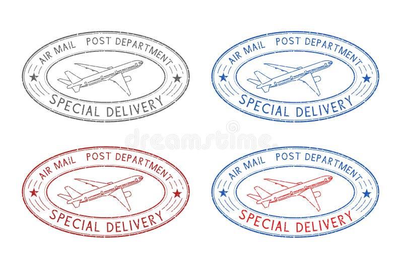 De ovale poststempels van de luchtpost Gekleurde reeks royalty-vrije illustratie