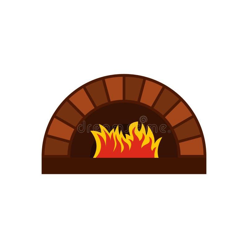 De oven van de baksteenpizza met brandpictogram, vlakke stijl royalty-vrije illustratie