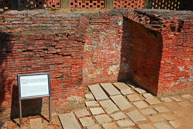 De overblijfselen van Fort Provintia, de Stad van Tainan, Taiwan stock afbeelding