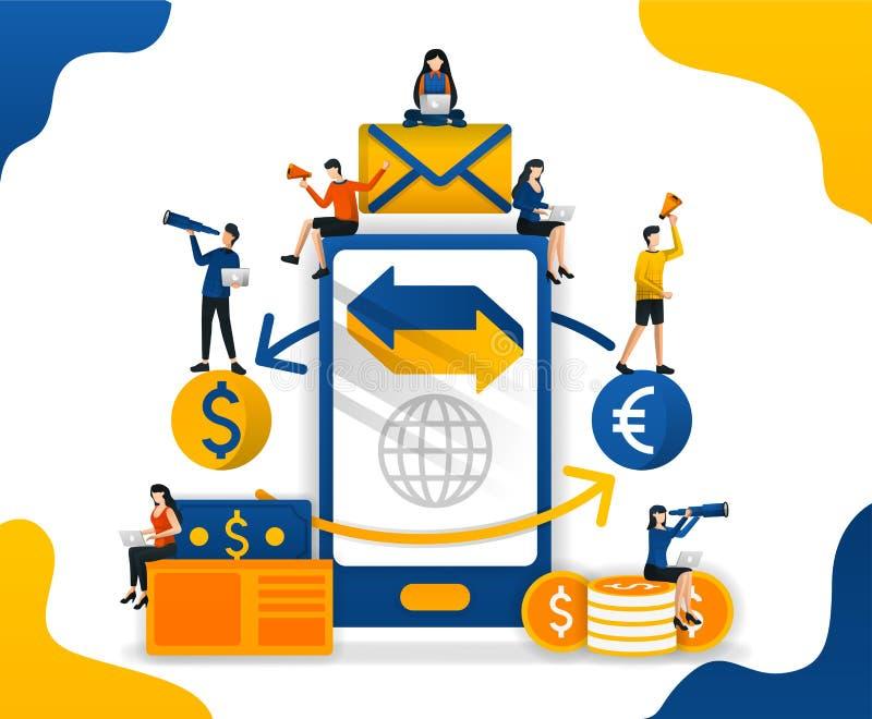 De overdracht en verzendt geld met toepassing handel tussen munten forex die apps, concepten vectorilustration handel drijven kan royalty-vrije illustratie