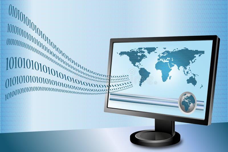 De overdracht van gegevens via Internet royalty-vrije illustratie