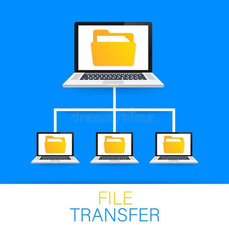 De overdracht van het dossier laptops met omslagen op het scherm en overgebrachte documenten Exemplaardossiers, gegevensuitwissel stock illustratie