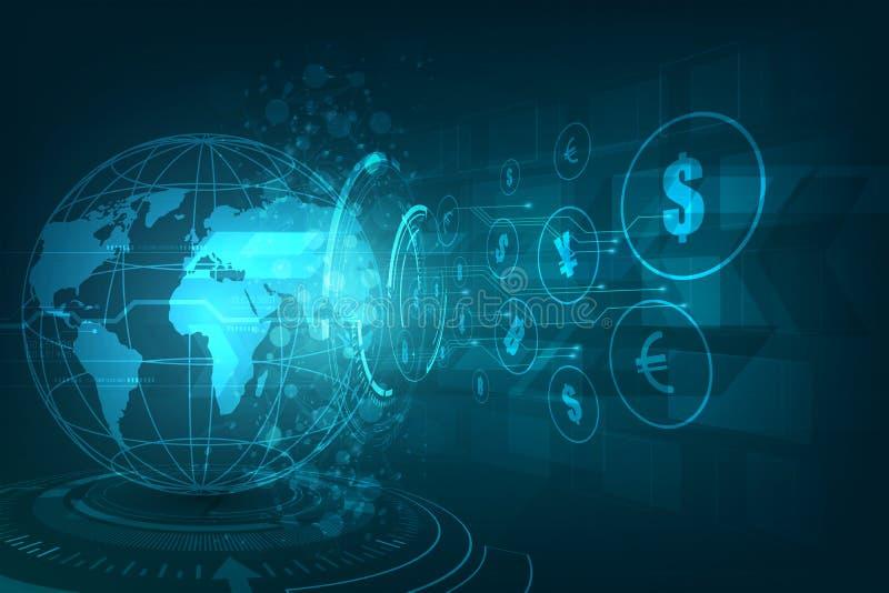 De overdracht van het geld Globale Munt Zandloper, dollar en euro De VectorIllustratie van de voorraad stock illustratie