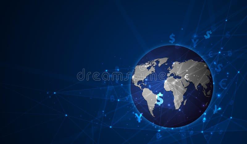 De overdracht van het geld Globale Munt Zandloper, dollar en euro De VectorIllustratie van de voorraad vector illustratie
