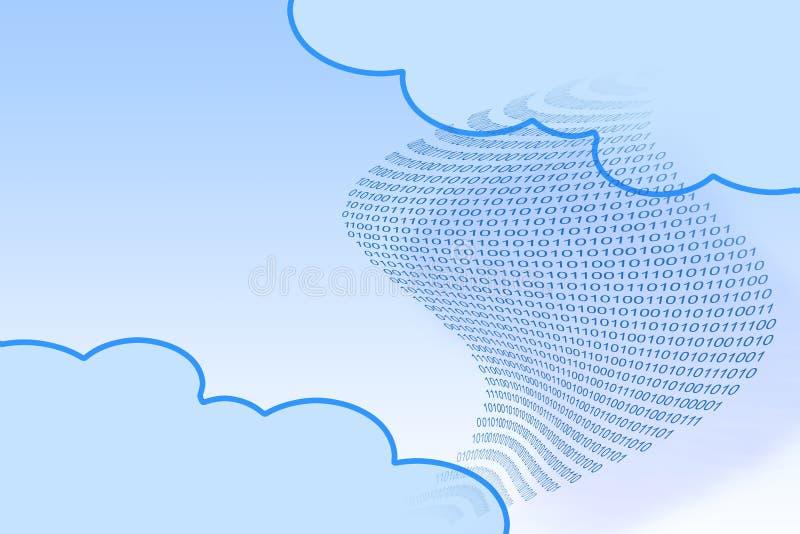 De overdrachtdossiers over veelvoudige wolk drijft om uw online veilige opslag te beheren - conceptenbeeld met binaire code en ex vector illustratie