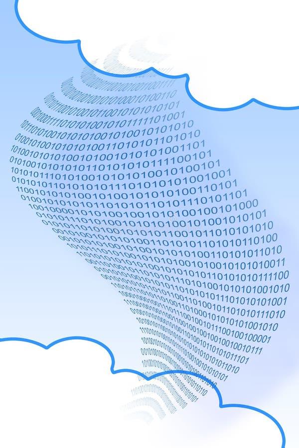 De overdrachtdossiers over veelvoudige wolk drijft om uw online veilige opslag te beheren - conceptenbeeld met binaire code en ex royalty-vrije stock foto