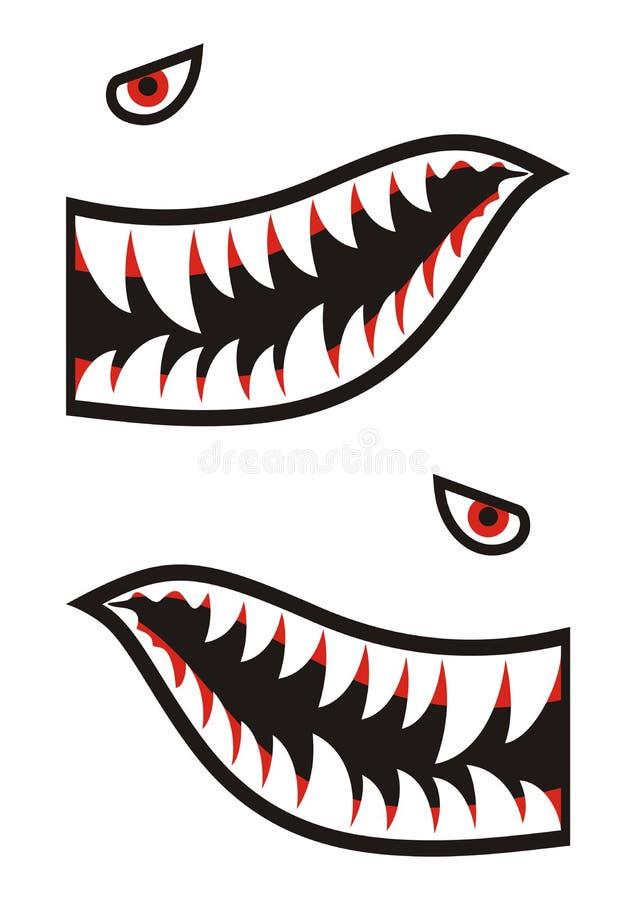 De overdrukplaatjes van haaitanden vector illustratie