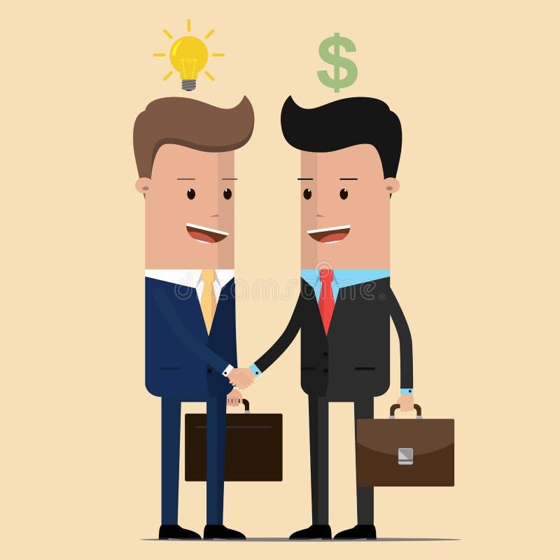 De overeenkomst die van de twee zakenliedenhanddruk gloeilampenidee en geld uitwisselen Vector illustratie stock illustratie