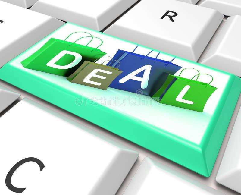 De overeenkomst op Computersleutel toont Koopjes en Bevorderingen stock illustratie
