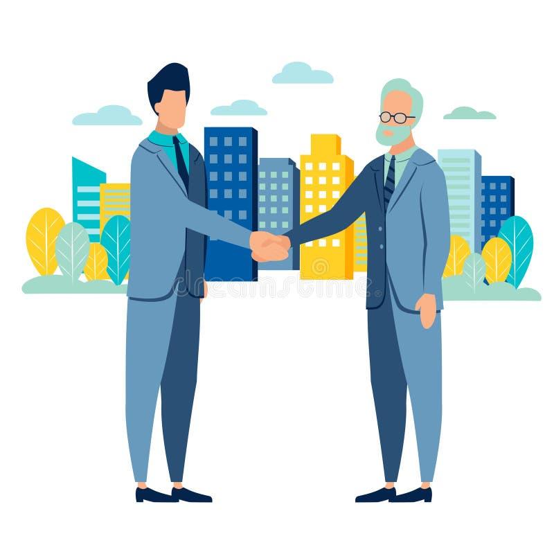 De overeenkomst van de zakenmanhanddruk Vlakke stijl Beeldverhaalvector stock illustratie