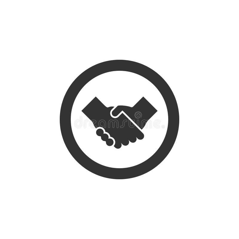 De overeenkomsten vlak vectorpictogram van het bedrijfshanddrukcontract voor apps en websites royalty-vrije illustratie
