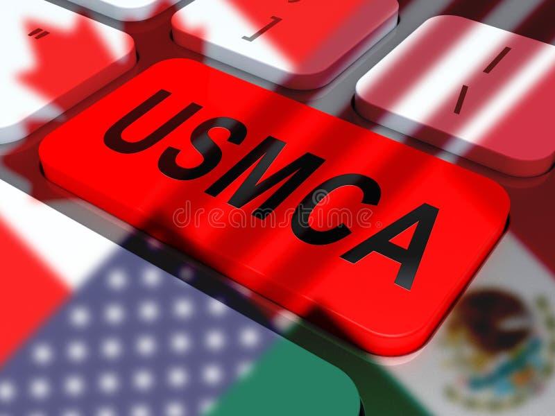 De Overeenkomstenhandel van USMCA Verenigde Staten Mexico Canada - 3d Illustratie stock illustratie