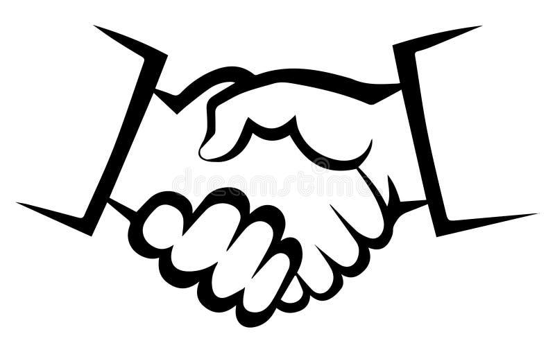 De Overeenkomstensymbool van het handdrukcontract - Pictogram royalty-vrije illustratie