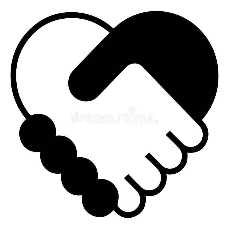 De Overeenkomstensymbool van het handdrukcontract - Pictogram in Hartvorm royalty-vrije illustratie