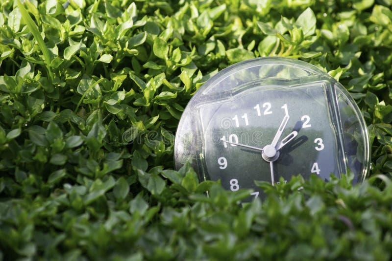 De overgang naar de zomertijd, de aankomst van de lente, de klok op de achtergrond van heldergroen de lentegras met een plaats vo royalty-vrije stock afbeelding