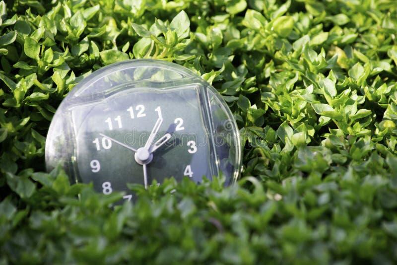 De overgang naar de zomertijd, de aankomst van de lente, de klok op de achtergrond van heldergroen de lentegras met een plaats vo royalty-vrije stock afbeeldingen
