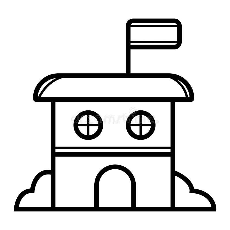De overheidsbouw met Vlagpictogram royalty-vrije illustratie