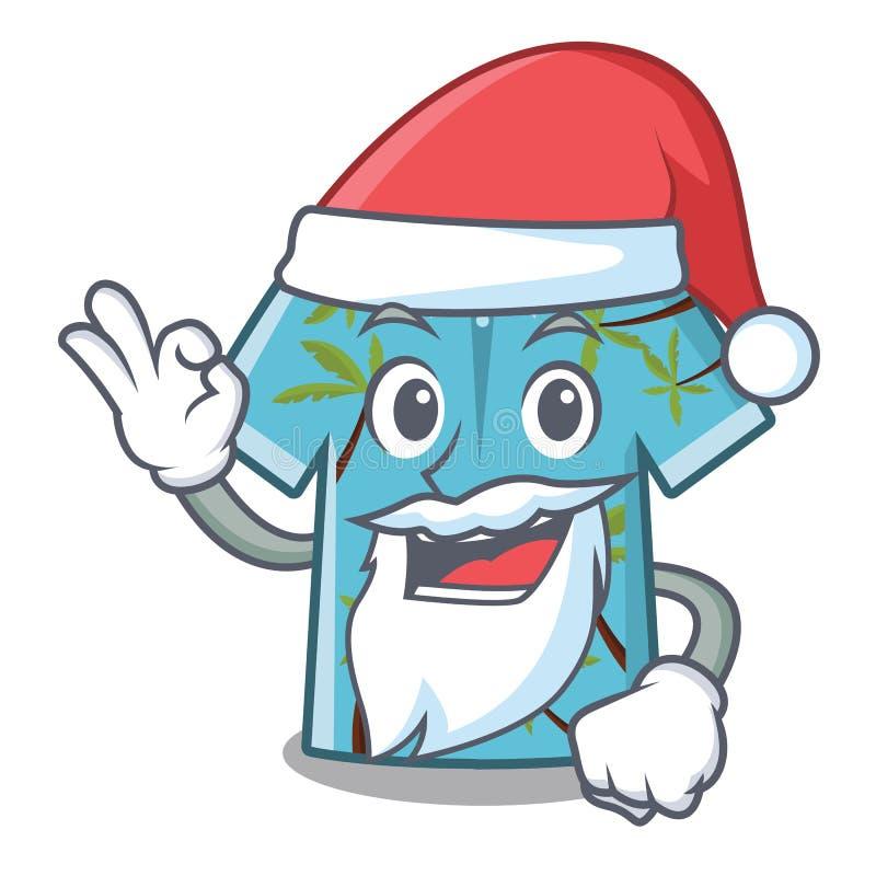 De overhemdenhanger van het kerstman Hawaiiaanse beeldverhaal achter deur vector illustratie