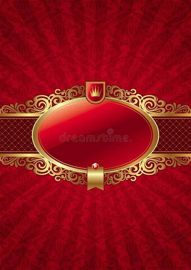De overladen achtergrond met gouden luxe frame etiket vector illustratie