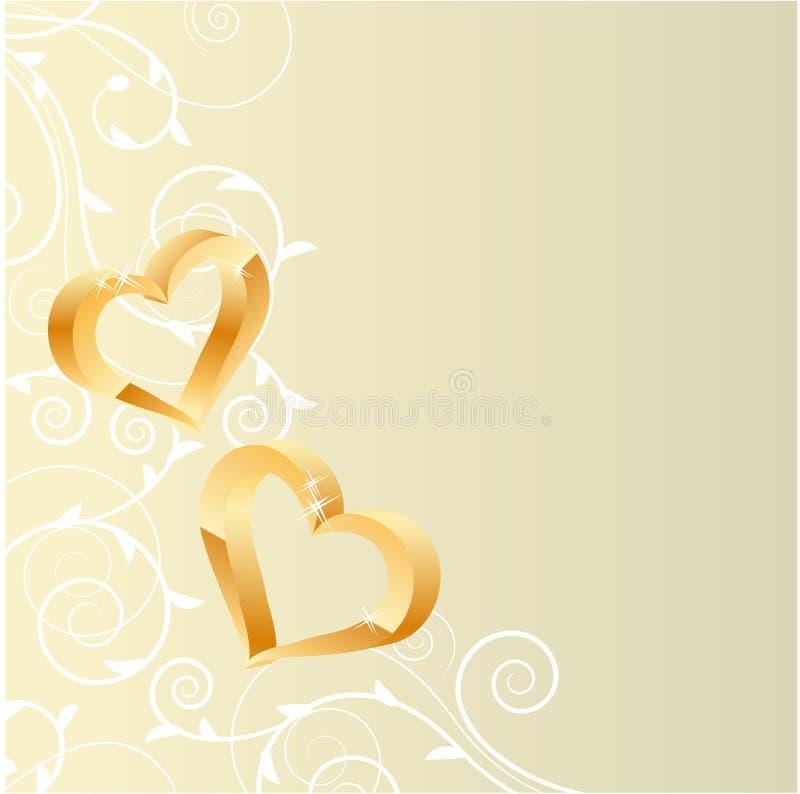 De overladen achtergrond van de pastelkleur met twee gouden harten royalty-vrije illustratie