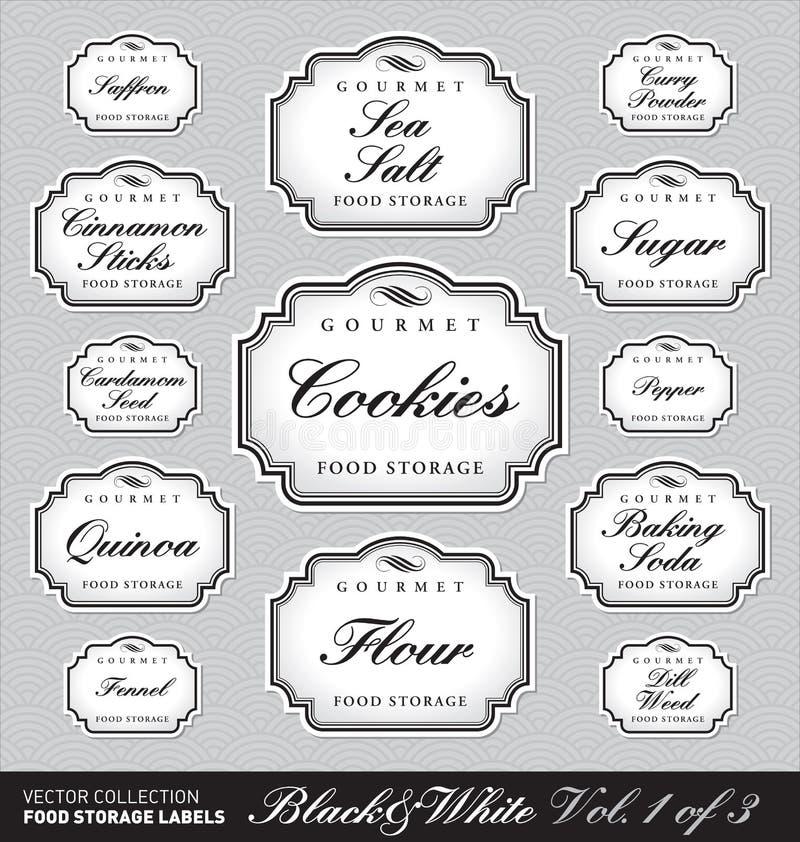 De overladen etiketten van de voedselopslag vol1 () stock illustratie