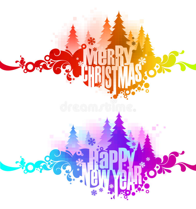 De overladen kleurrijke banners van Kerstmis royalty-vrije illustratie