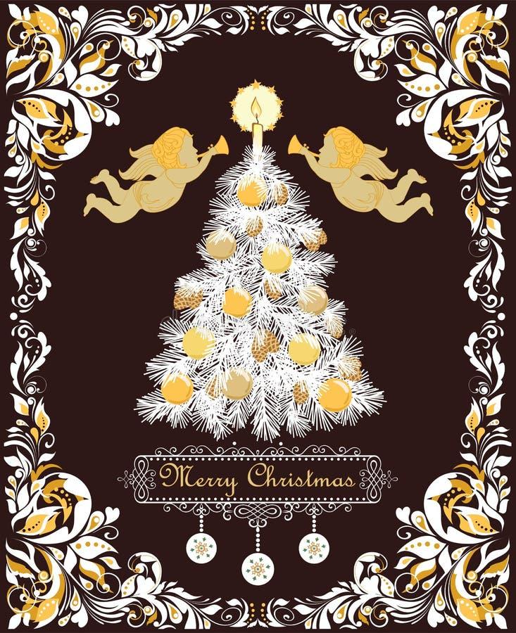 De overladen retro groetkerstkaart met uitstekend bloemenvignet voor de wintervakantie met document verwijderde Kerstmisboom met  vector illustratie