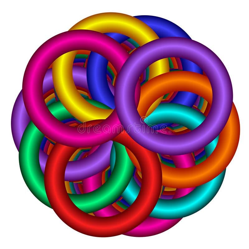 De Overlappende Ringen van de regenboog royalty-vrije illustratie