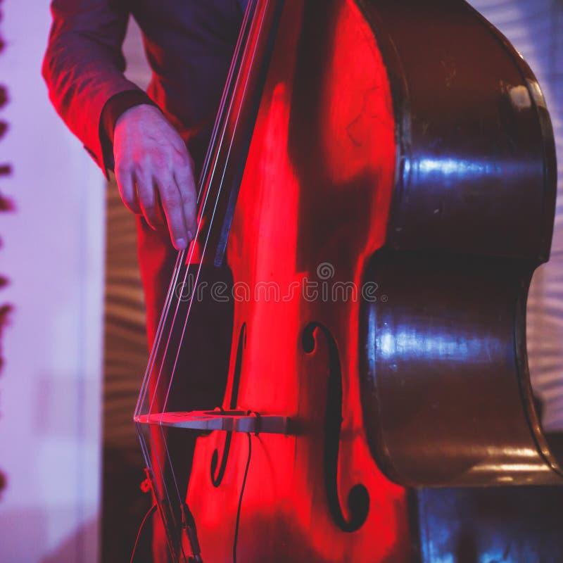 De overlegmening van een speler van de contrabasvioloncel met vocalist en de musical tijdens jazz verbinden het presteren stock foto