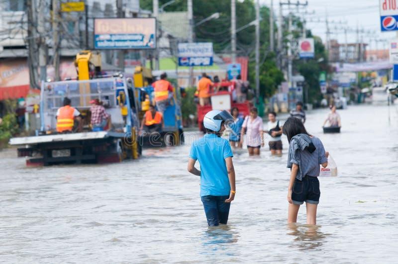 De overstroming van de moesson in Nakhon Ratchasima, Thailand stock foto's
