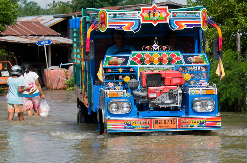 De overstroming van de moesson in Thailand stock fotografie