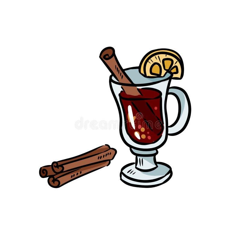 De overwogen krabbel van de wijnhand getrokken vectorsticker royalty-vrije illustratie