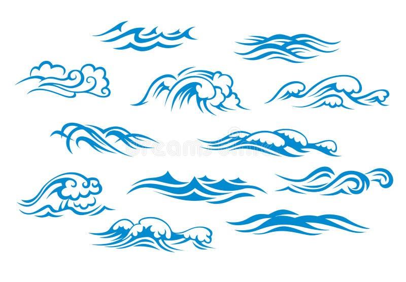 De overzeese golven van de oceaan en royalty-vrije illustratie