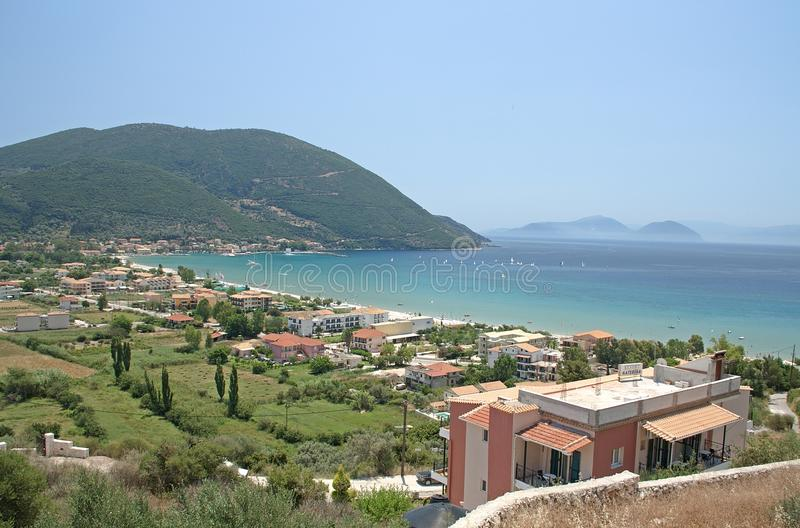 De overzeese van Lefkada Griekenland Vasiliki Beach blauwe hemel van Europa royalty-vrije stock afbeeldingen