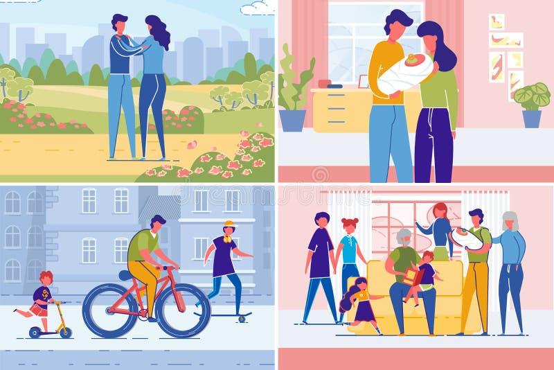De paar die Familie tot stand brengen van het Parenting wordt geplaatst vector illustratie