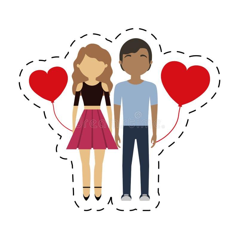 de paar gemengde ballon van ras rode harten royalty-vrije illustratie
