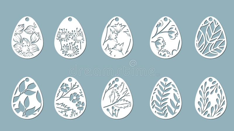de paardebloem, klok, bladeren, bloemen, varen, kamille sneed in ei Vector illustratie Paaseieren voor Pasen-vakantie Reeks van p royalty-vrije illustratie
