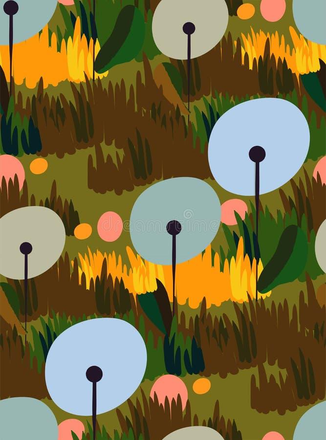 De paardebloemvector stileerde modern naadloos bloemenpatroon vector illustratie