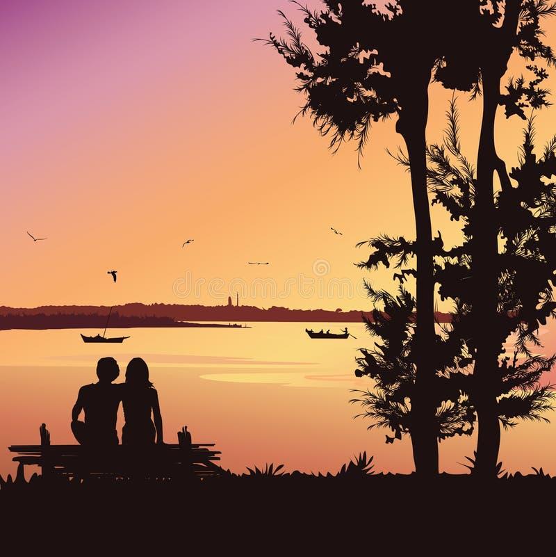 De paarzitting op de bank bij zonsondergang, silhouetteert vectorachtergrond royalty-vrije illustratie