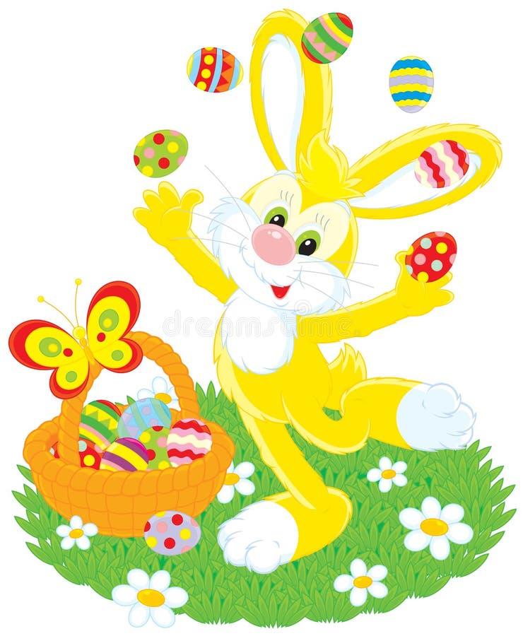 De paashaas jongleert met eieren vector illustratie