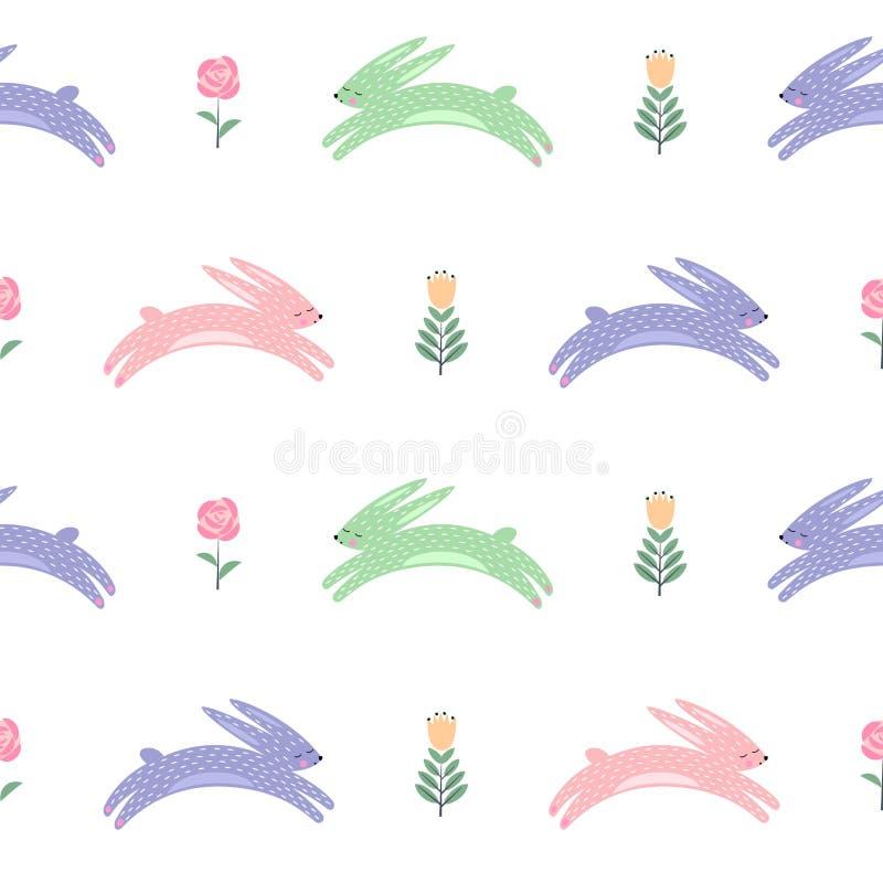 De paashaas met de lente bloeit naadloos patroon stock illustratie