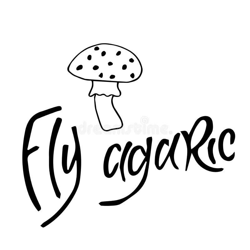 De paddestoelen van de vliegplaatzwam op witte achtergrond, zwarte inkt, illustratie, handtekening worden geïsoleerd die stock illustratie
