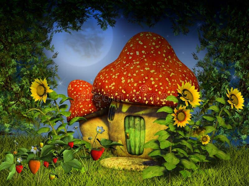 De paddestoelhuis van de fantasie vector illustratie