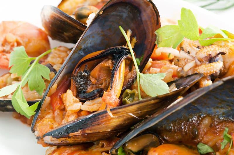 De Paella van zeevruchten royalty-vrije stock afbeeldingen