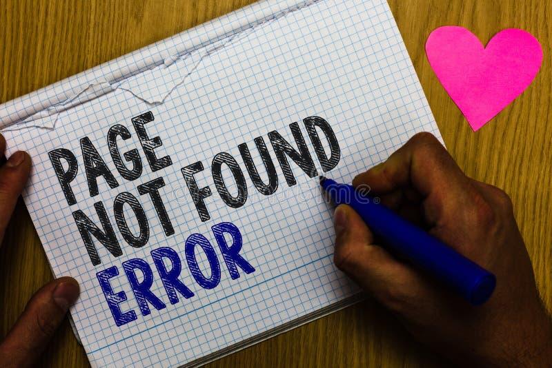 De Pagina Gevonden niet van de handschrifttekst Fout Het concept die bericht betekenen lijkt wanneer het onderzoek naar website n royalty-vrije stock foto's