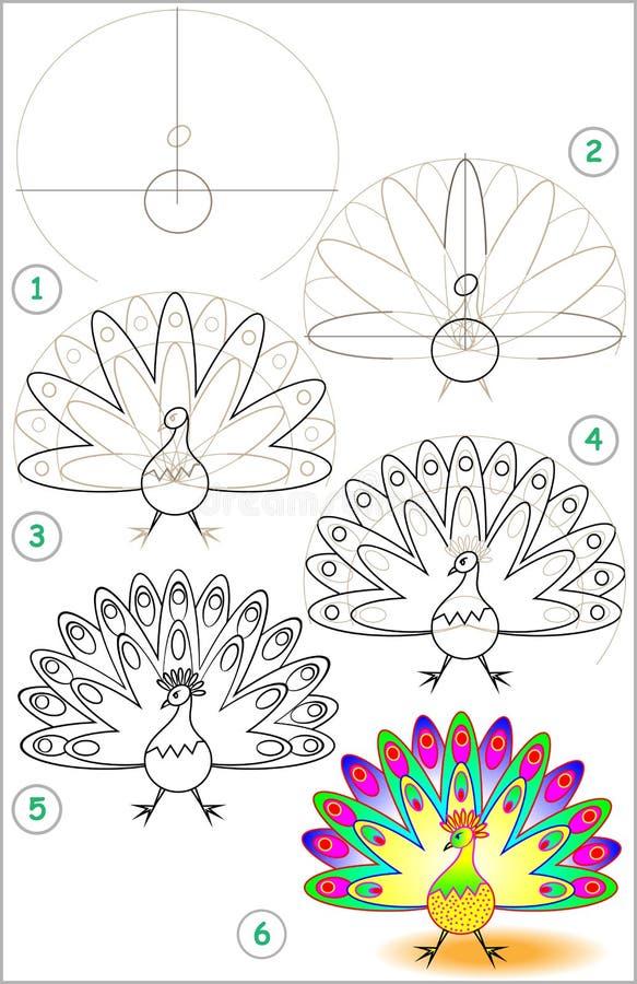 De pagina toont hoe te stap voor stap leren om een pauw te trekken royalty-vrije illustratie