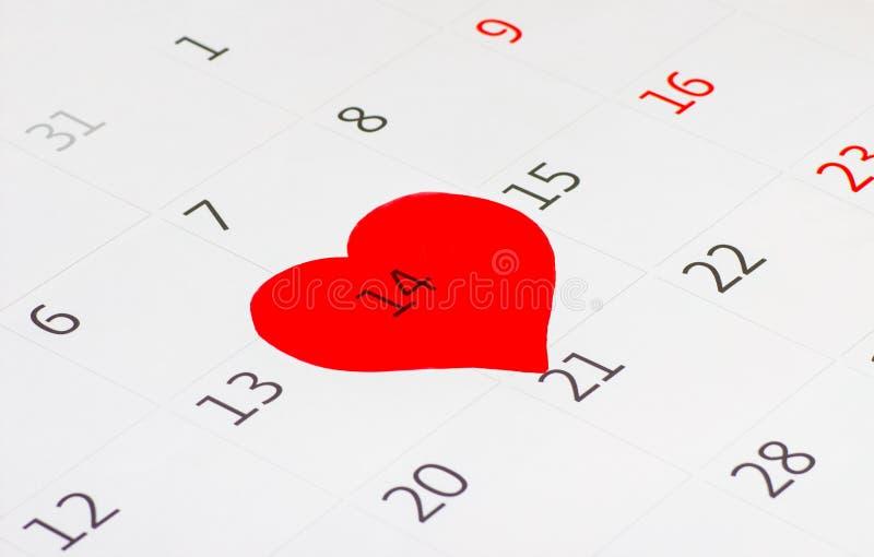 De pagina van de kalender van de valentijnskaartdag royalty-vrije stock foto